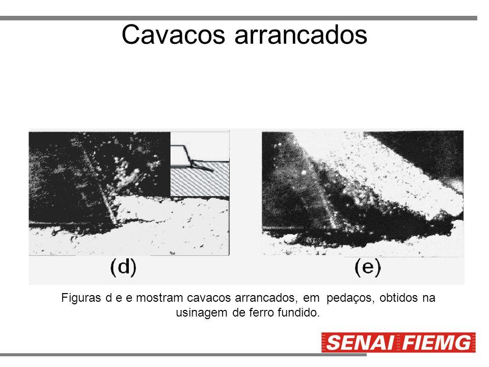 Cavacos arrancados Figuras d e e mostram cavacos arrancados, em pedaços, obtidos na usinagem de ferro fundido.