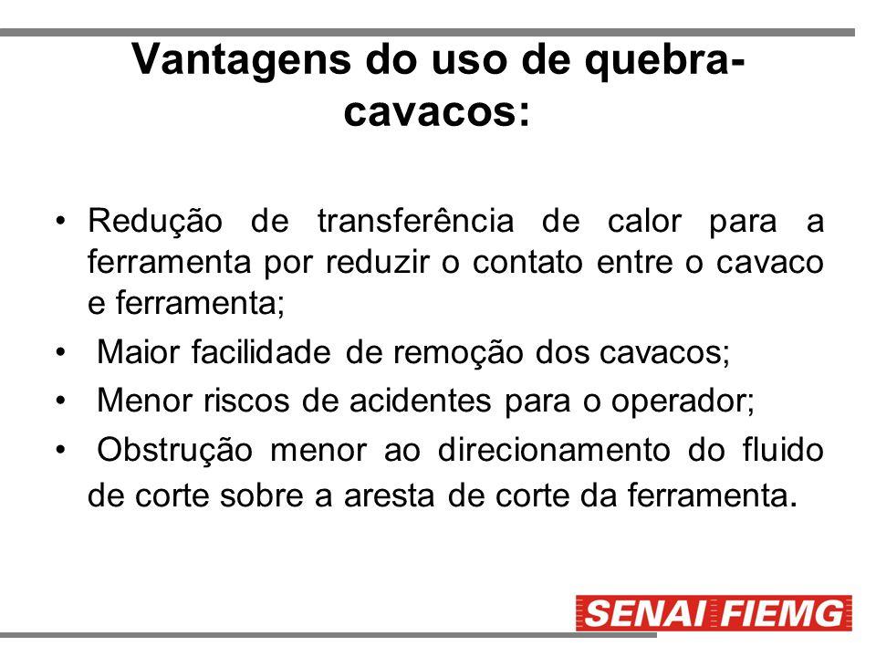 Vantagens do uso de quebra- cavacos: Redução de transferência de calor para a ferramenta por reduzir o contato entre o cavaco e ferramenta; Maior faci