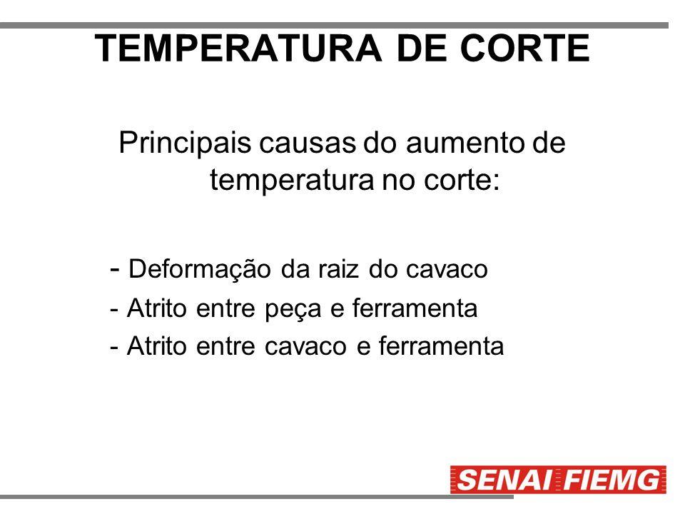 TEMPERATURA DE CORTE Principais causas do aumento de temperatura no corte: - Deformação da raiz do cavaco -Atrito entre peça e ferramenta -Atrito entr