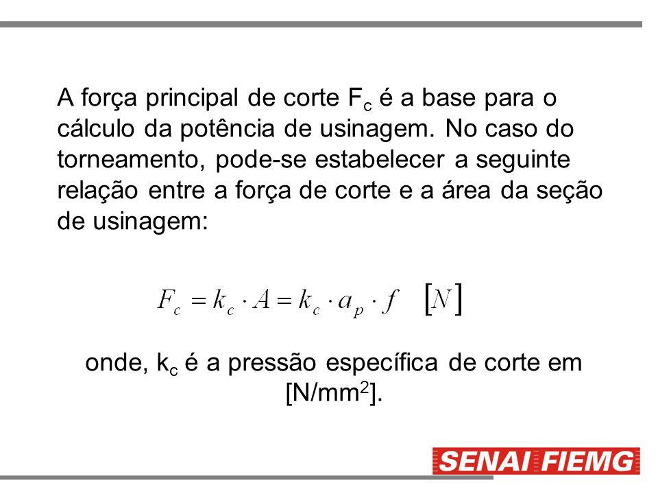 A força principal de corte F c é a base para o cálculo da potência de usinagem. No caso do torneamento, pode-se estabelecer a seguinte relação entre a