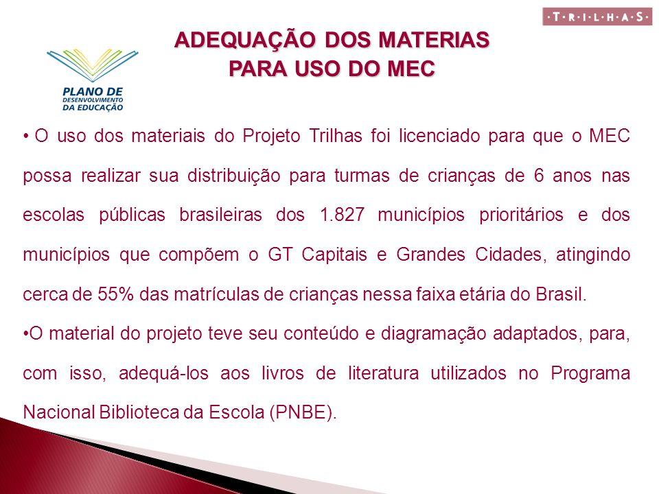 O uso dos materiais do Projeto Trilhas foi licenciado para que o MEC possa realizar sua distribuição para turmas de crianças de 6 anos nas escolas púb