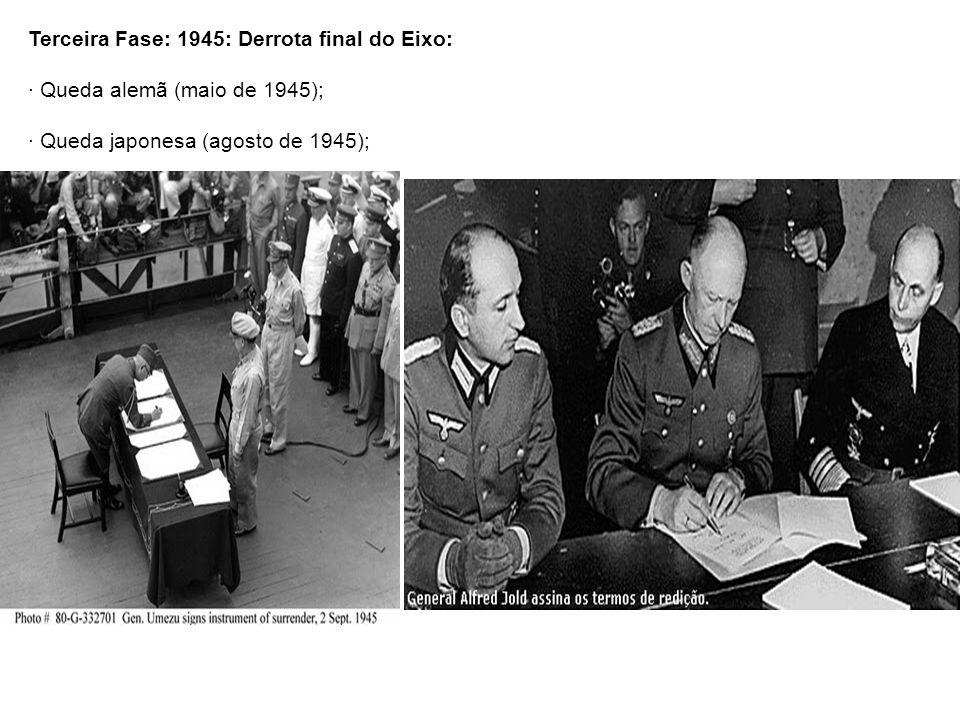 Terceira Fase: 1945: Derrota final do Eixo: · Queda alemã (maio de 1945); · Queda japonesa (agosto de 1945);