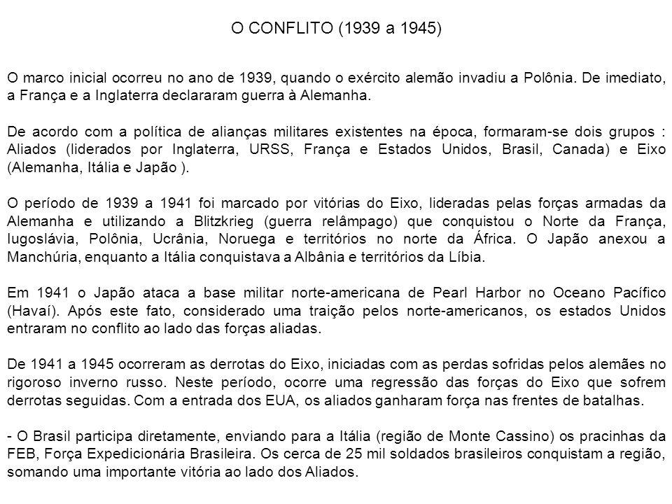 O CONFLITO (1939 a 1945) O marco inicial ocorreu no ano de 1939, quando o exército alemão invadiu a Polônia. De imediato, a França e a Inglaterra decl