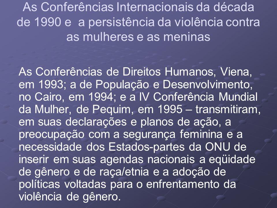 As Conferências Internacionais da década de 1990 e a persistência da violência contra as mulheres e as meninas As Conferências de Direitos Humanos, Vi