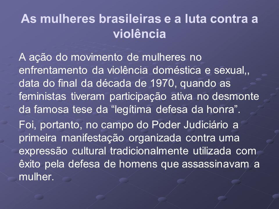 As mulheres brasileiras e a luta contra a violência A ação do movimento de mulheres no enfrentamento da violência doméstica e sexual,, data do final d