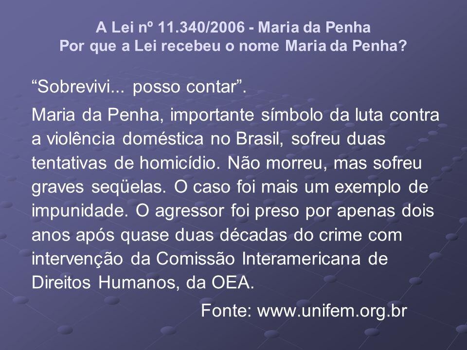 A Lei nº 11.340/2006 - Maria da Penha Por que a Lei recebeu o nome Maria da Penha? Sobrevivi... posso contar. Maria da Penha, importante símbolo da lu