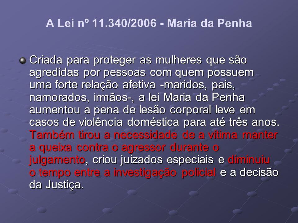 A Lei nº 11.340/2006 - Maria da Penha Criada para proteger as mulheres que são agredidas por pessoas com quem possuem uma forte relação afetiva -marid