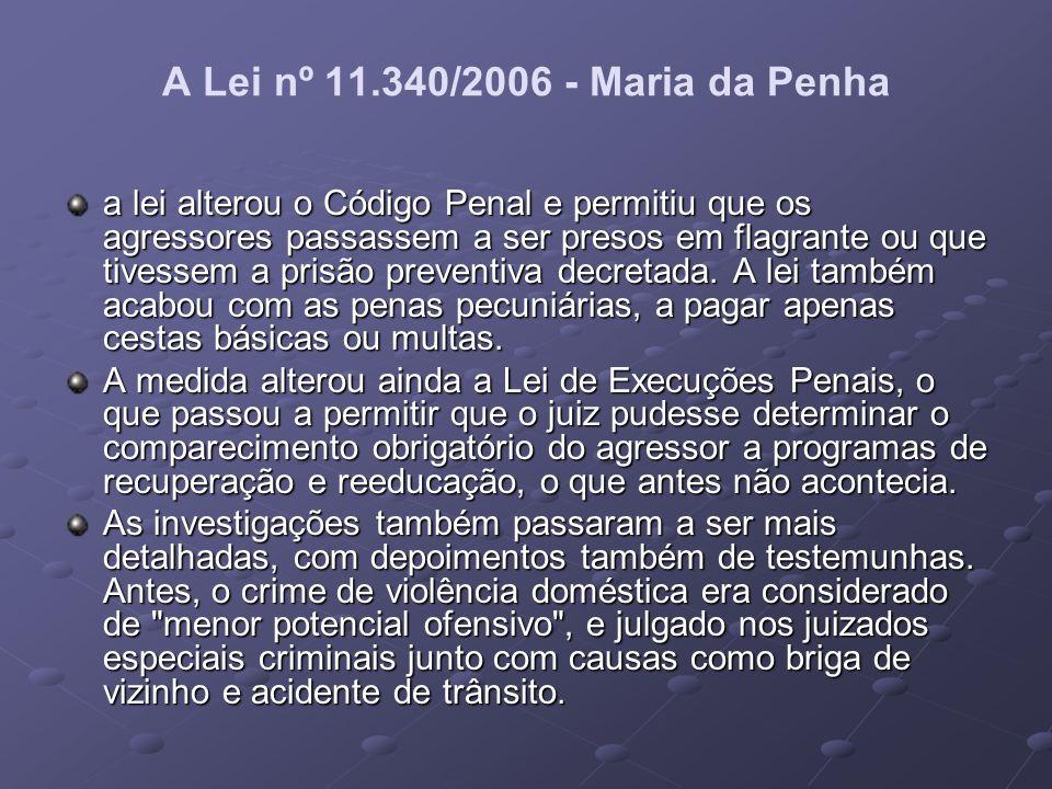 A Lei nº 11.340/2006 - Maria da Penha a lei alterou o Código Penal e permitiu que os agressores passassem a ser presos em flagrante ou que tivessem a