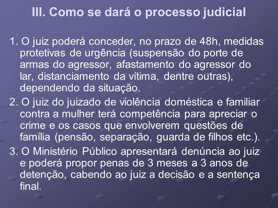 III. Como se dará o processo judicial 1. O juiz poderá conceder, no prazo de 48h, medidas protetivas de urgência (suspensão do porte de armas do agres