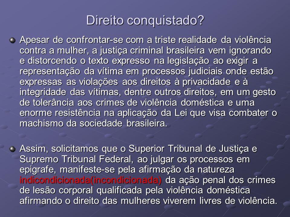 Direito conquistado? Apesar de confrontar-se com a triste realidade da violência contra a mulher, a justiça criminal brasileira vem ignorando e distor