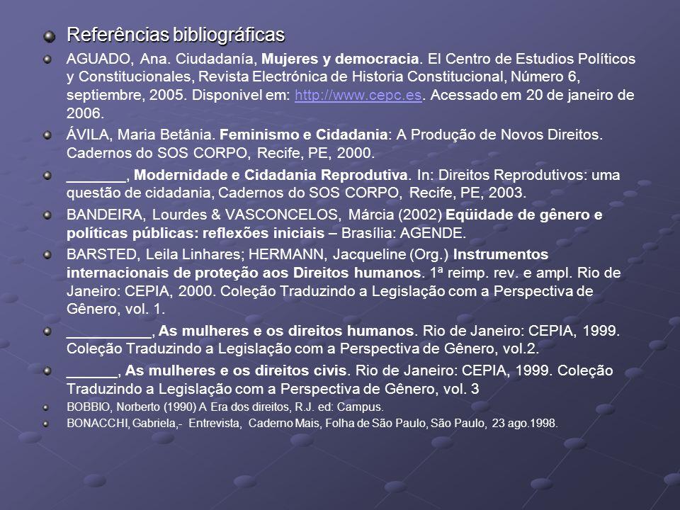 Referências bibliográficas AGUADO, Ana. Ciudadanía, Mujeres y democracia. El Centro de Estudios Políticos y Constitucionales, Revista Electrónica de H