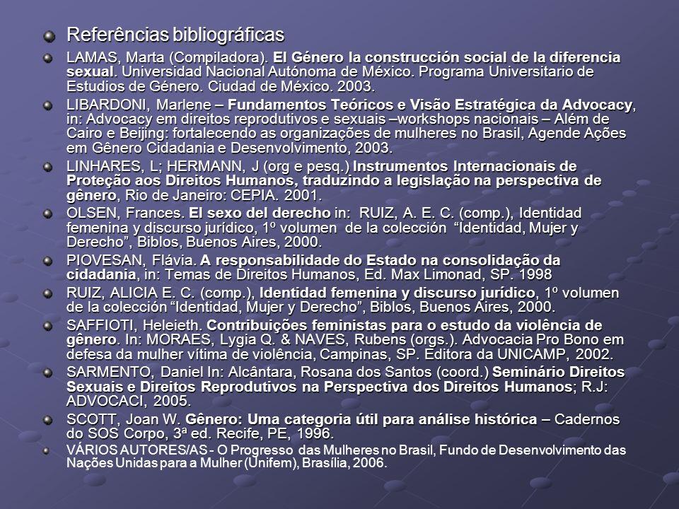 Referências bibliográficas LAMAS, Marta (Compiladora). El Género la construcción social de la diferencia sexual. Universidad Nacional Autónoma de Méxi