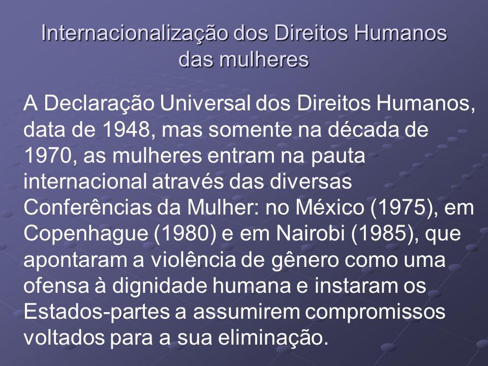 Processo de Internacionalização dos Direitos Humanos Década da Mulher (1975-1985), reconhecimento que direitos humanos eram negligenciados e ignoradas graves violações à dignidade da mulher.