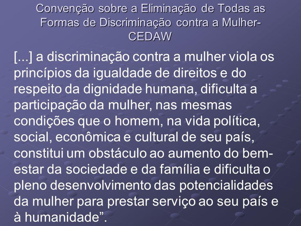 Convenção sobre a Eliminação de Todas as Formas de Discriminação contra a Mulher- CEDAW [...] a discriminação contra a mulher viola os princípios da i