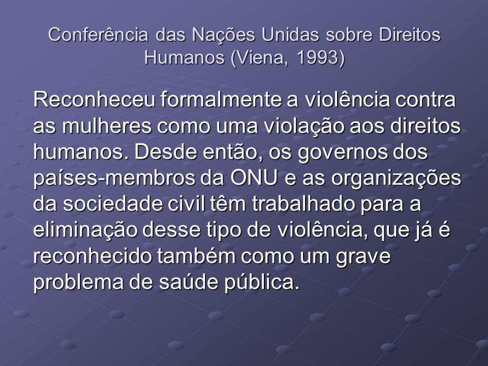 Conferência das Nações Unidas sobre Direitos Humanos (Viena, 1993) Reconheceu formalmente a violência contra as mulheres como uma violação aos direito