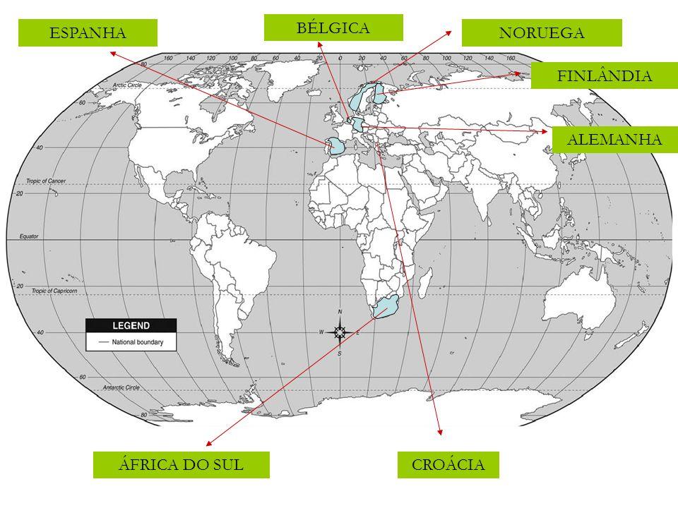CROÁCIA NORUEGA FINLÂNDIA BÉLGICA ÁFRICA DO SUL ESPANHA ALEMANHA