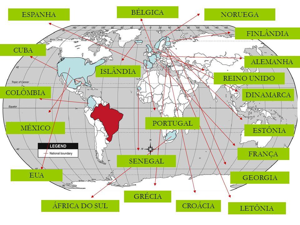 CROÁCIA NORUEGA FINLÂNDIA BÉLGICA ÁFRICA DO SUL ESPANHA ALEMANHA COLÔMBIA CUBA DINAMARCA ESTÔNIA FRANÇA GEORGIA GRÉCIA ISLÂNDIA LETÔNIA MÉXICO PORTUGA