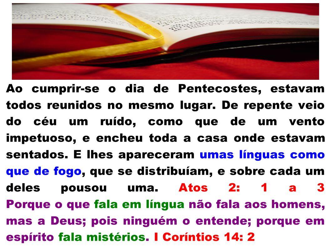 Ao cumprir-se o dia de Pentecostes, estavam todos reunidos no mesmo lugar. De repente veio do céu um ruído, como que de um vento impetuoso, e encheu t