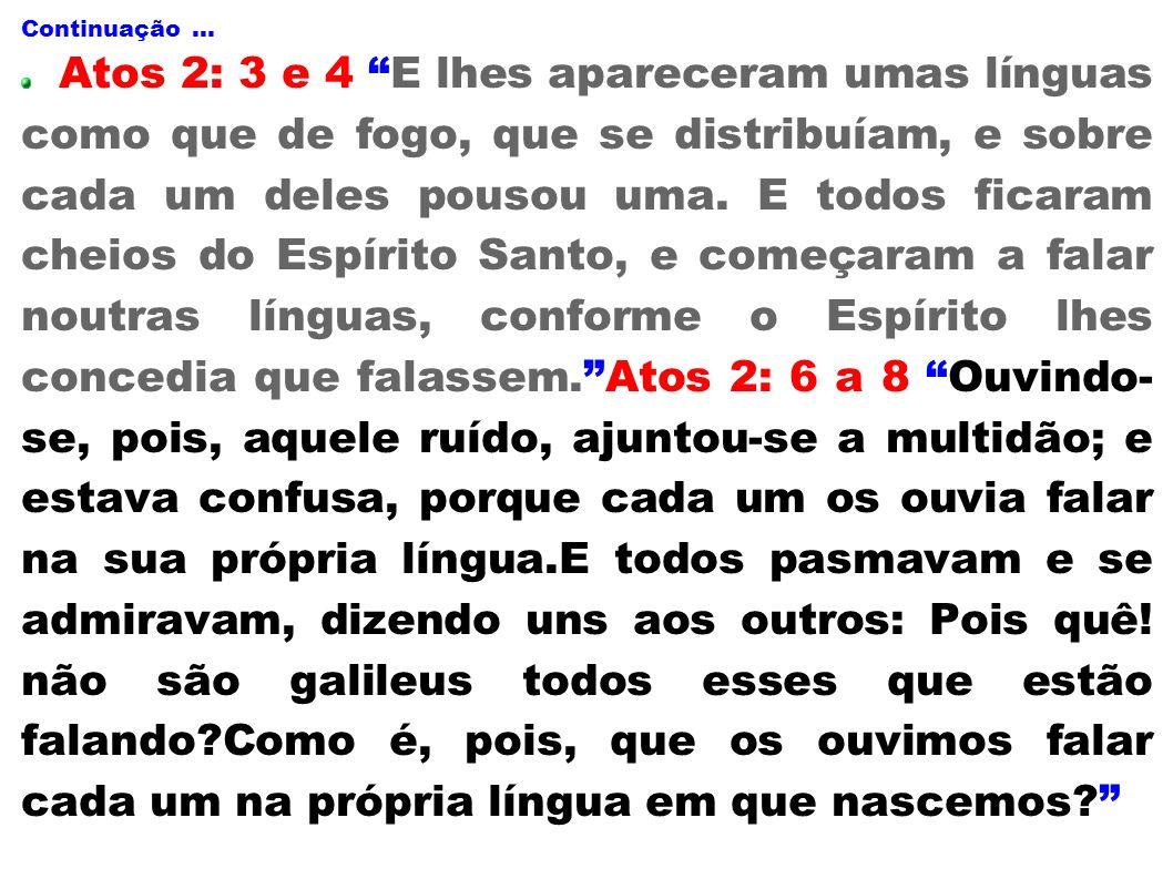 Continuação... Atos 2: 3 e 4 E lhes apareceram umas línguas como que de fogo, que se distribuíam, e sobre cada um deles pousou uma. E todos ficaram ch