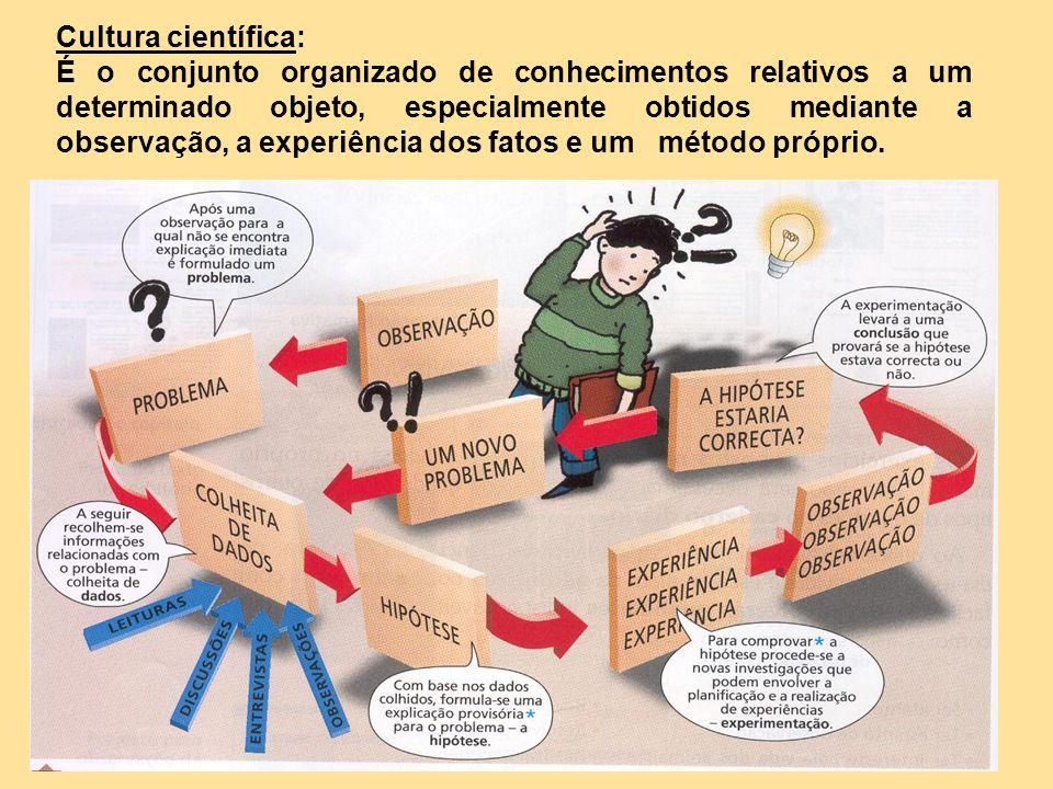 Cultura científica: É o conjunto organizado de conhecimentos relativos a um determinado objeto, especialmente obtidos mediante a observação, a experiê