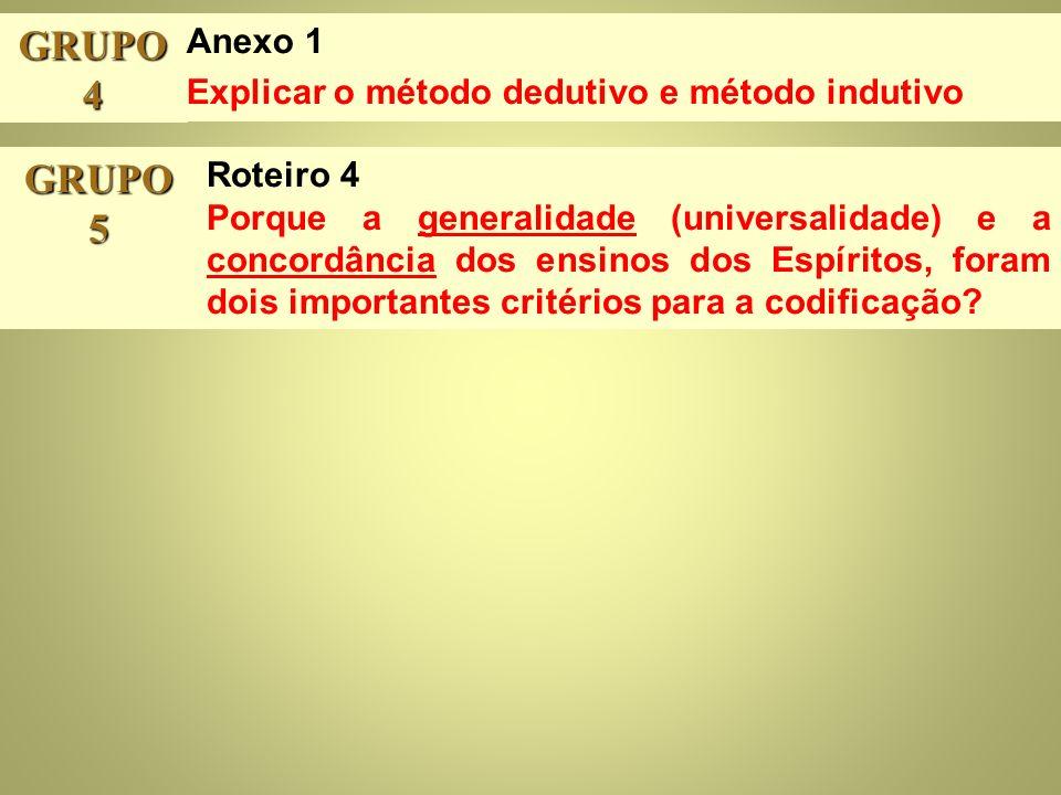 GRUPO 4 GRUPO 5 Anexo 1 Explicar o método dedutivo e método indutivo Roteiro 4 Porque a generalidade (universalidade) e a concordância dos ensinos dos