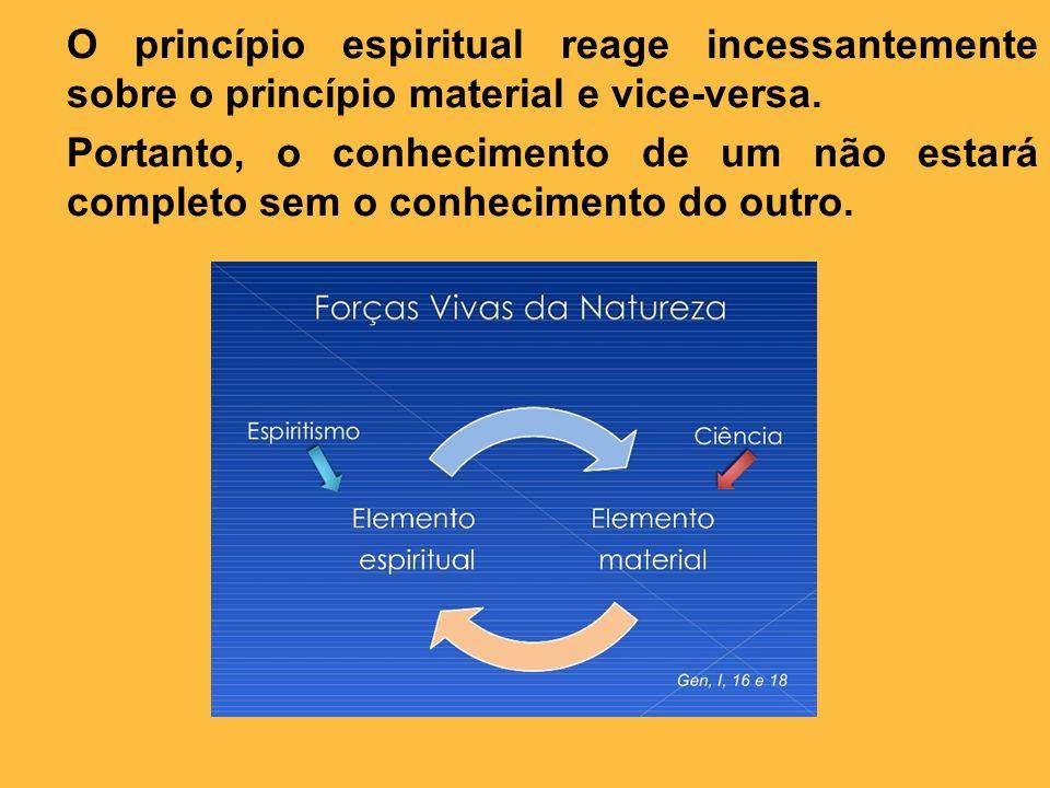 O princípio espiritual reage incessantemente sobre o princípio material e vice-versa. Portanto, o conhecimento de um não estará completo sem o conheci