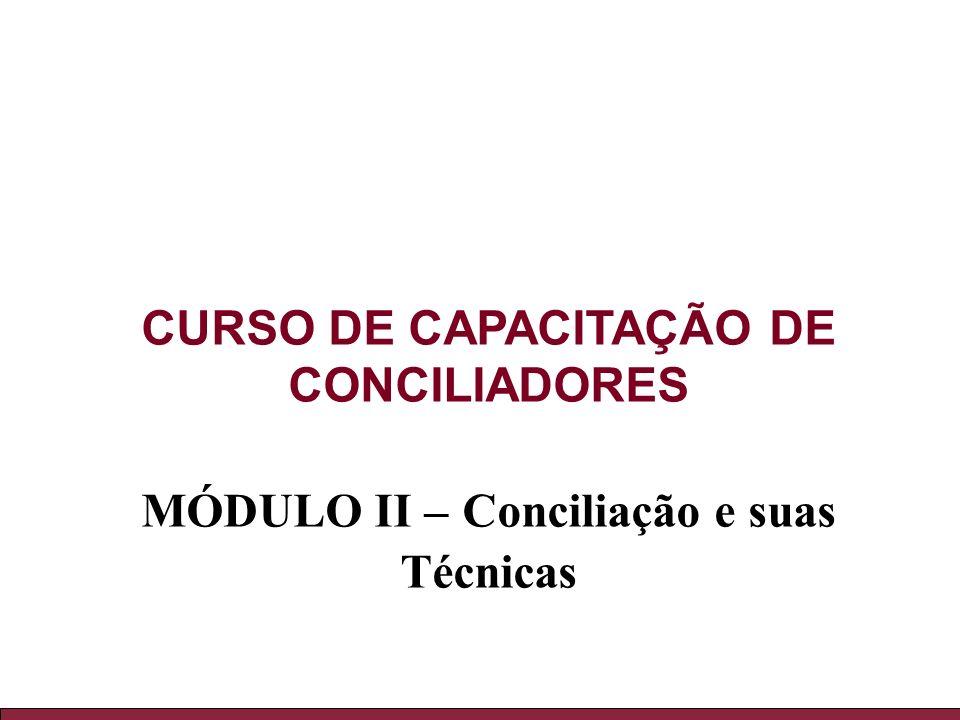 CURSO DE CAPACITAÇÃO DE CONCILIADORES MÓDULO II – Conciliação e suas Técnicas