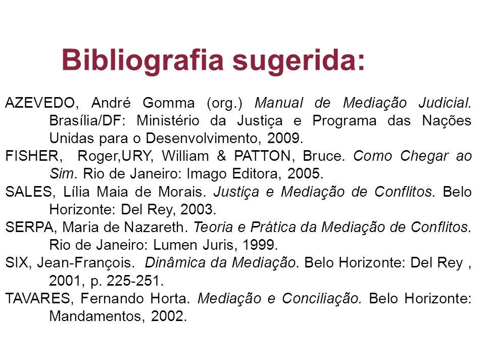 AZEVEDO, André Gomma (org.) Manual de Mediação Judicial. Brasília/DF: Ministério da Justiça e Programa das Nações Unidas para o Desenvolvimento, 2009.