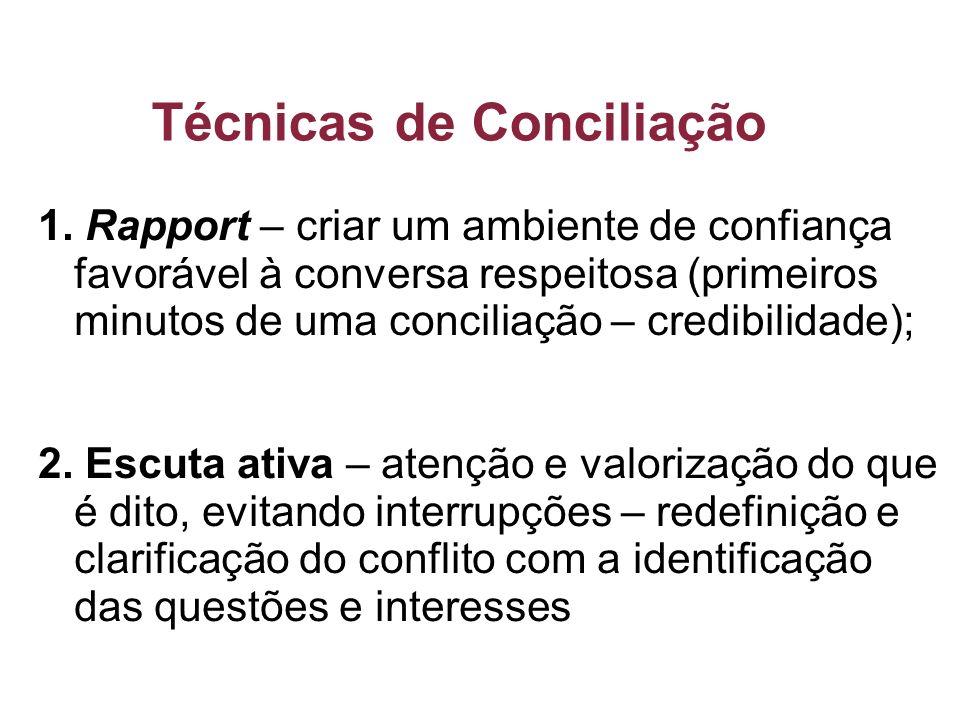 Técnicas de Conciliação 1. Rapport – criar um ambiente de confiança favorável à conversa respeitosa (primeiros minutos de uma conciliação – credibilid