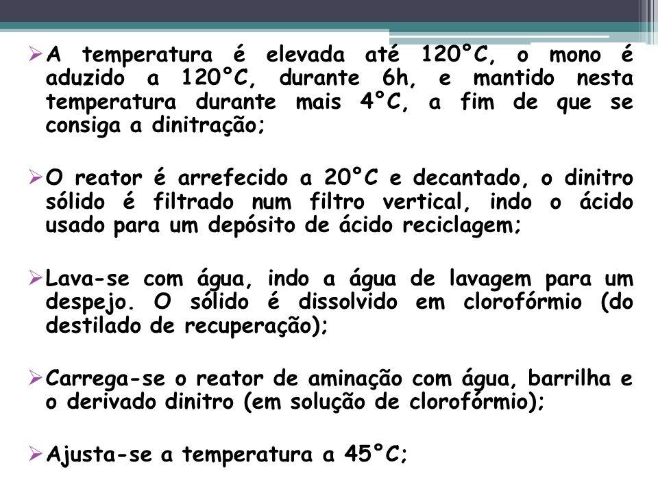 A temperatura é elevada até 120°C, o mono é aduzido a 120°C, durante 6h, e mantido nesta temperatura durante mais 4°C, a fim de que se consiga a dinit