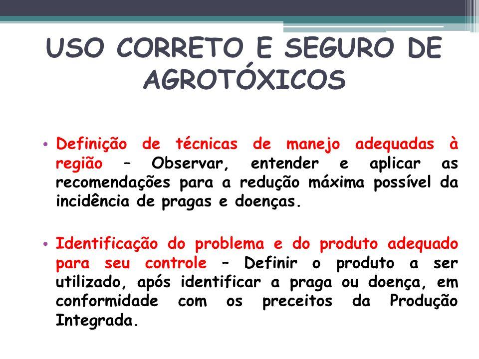 USO CORRETO E SEGURO DE AGROTÓXICOS Definição de técnicas de manejo adequadas à região – Observar, entender e aplicar as recomendações para a redução
