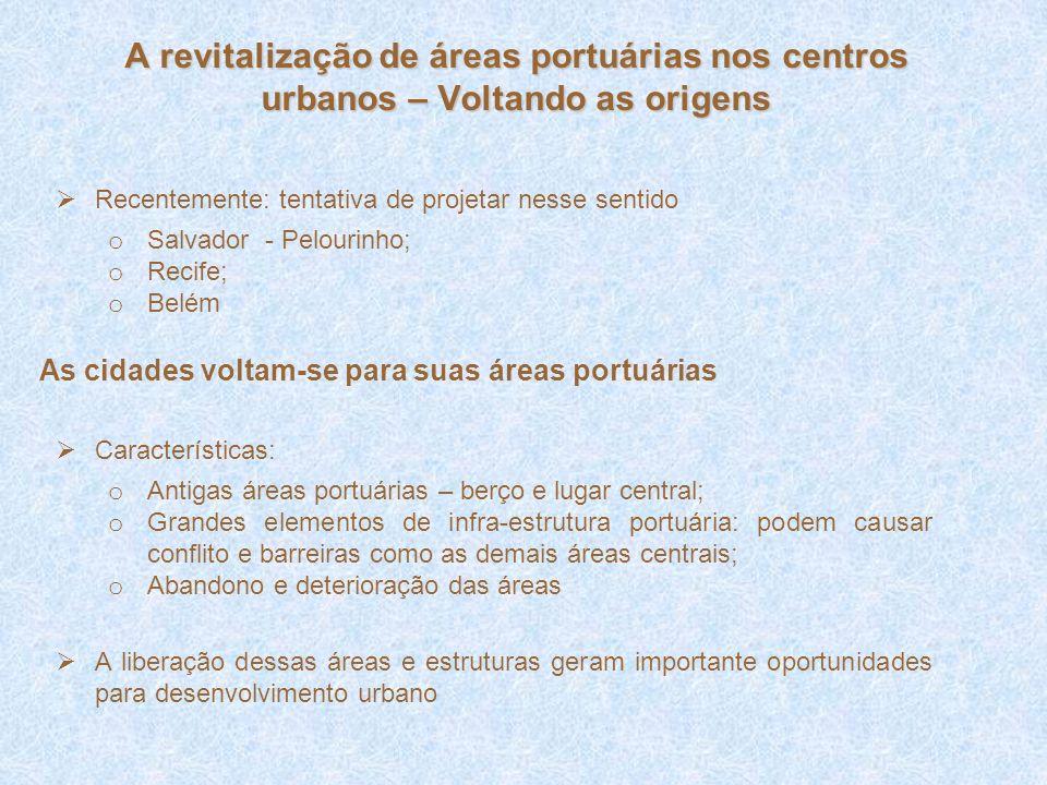 Recentemente: tentativa de projetar nesse sentido o Salvador - Pelourinho; o Recife; o Belém Características: o Antigas áreas portuárias – berço e lug