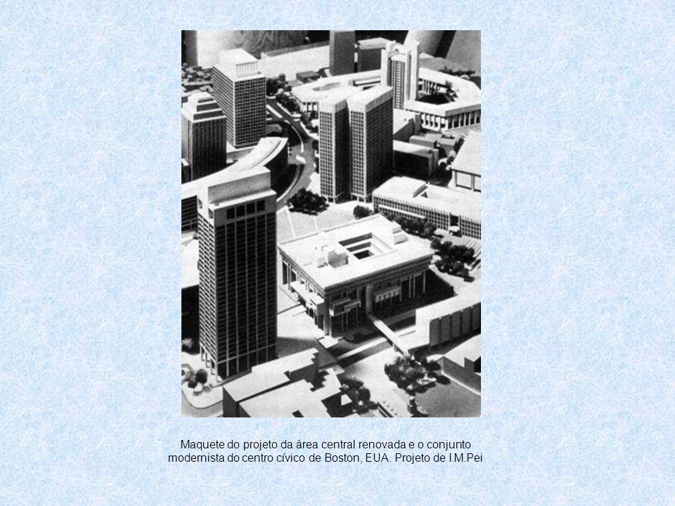 Maquete do projeto da área central renovada e o conjunto modernista do centro cívico de Boston, EUA. Projeto de I.M.Pei