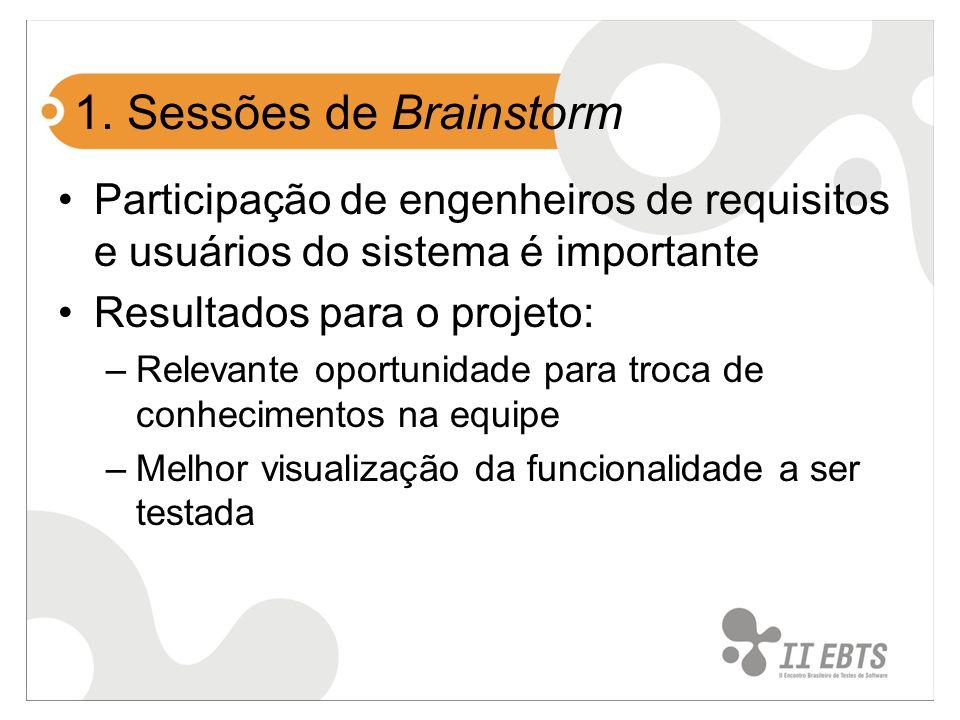 1. Sessões de Brainstorm Participação de engenheiros de requisitos e usuários do sistema é importante Resultados para o projeto: –Relevante oportunida