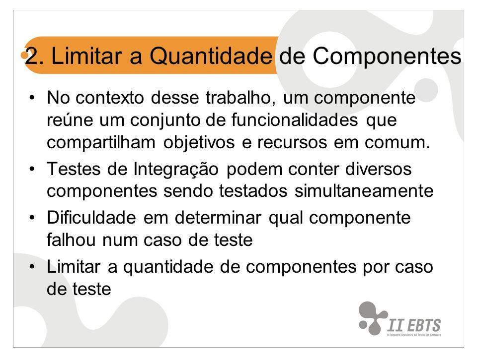 2. Limitar a Quantidade de Componentes No contexto desse trabalho, um componente reúne um conjunto de funcionalidades que compartilham objetivos e rec