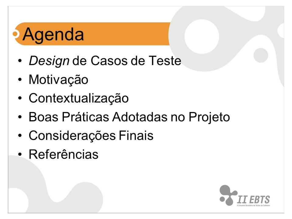 Agenda Design de Casos de Teste Motivação Contextualização Boas Práticas Adotadas no Projeto Considerações Finais Referências