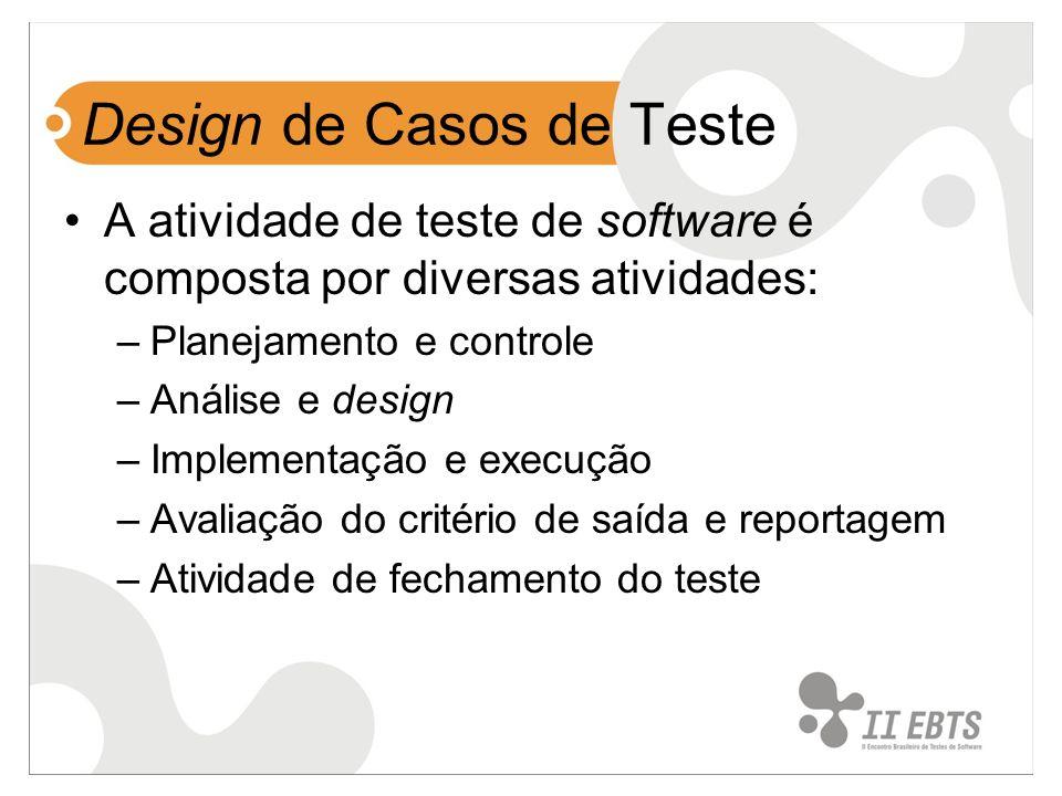 Design de Casos de Teste A atividade de teste de software é composta por diversas atividades: –Planejamento e controle –Análise e design –Implementaçã