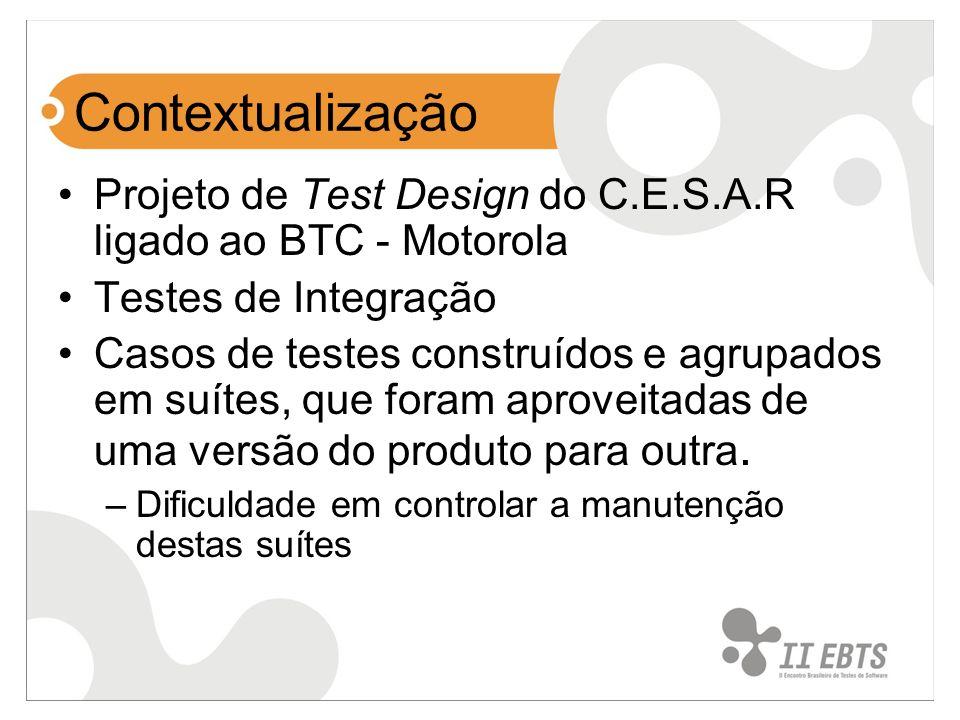 Contextualização Projeto de Test Design do C.E.S.A.R ligado ao BTC - Motorola Testes de Integração Casos de testes construídos e agrupados em suítes,