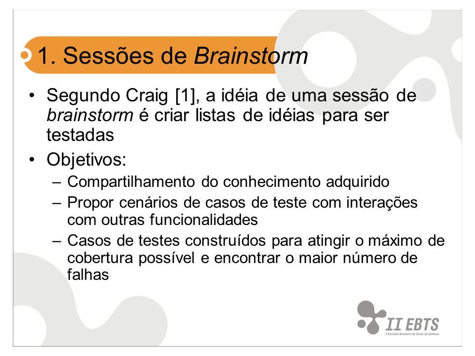 1. Sessões de Brainstorm Segundo Craig [1], a idéia de uma sessão de brainstorm é criar listas de idéias para ser testadas Objetivos: –Compartilhament