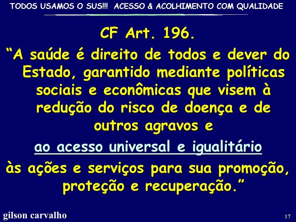 TODOS USAMOS O SUS!!! ACESSO & ACOLHIMENTO COM QUALIDADE gilson carvalho 16 ACESSODEQUALIDADE EM SAÚDE