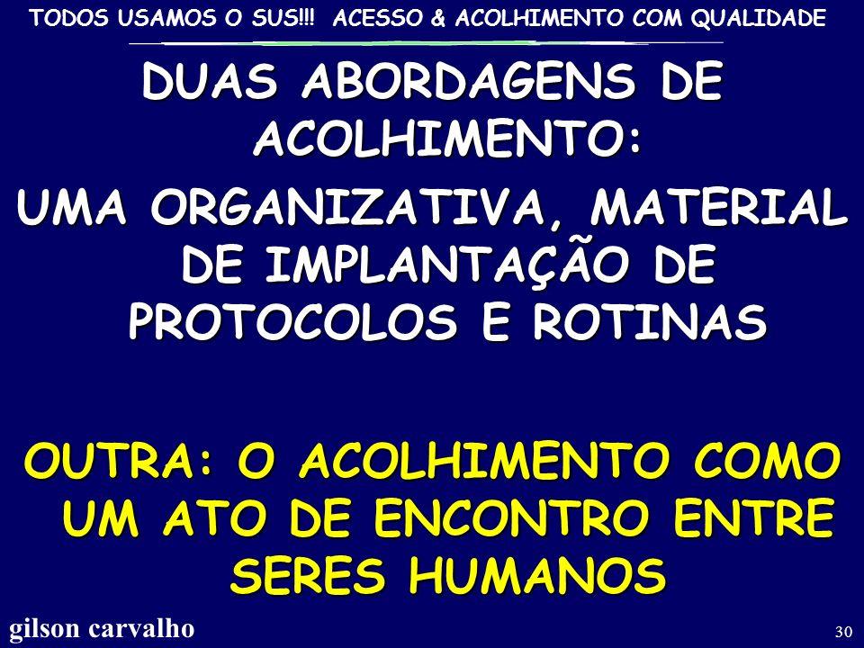 TODOS USAMOS O SUS!!! ACESSO & ACOLHIMENTO COM QUALIDADE gilson carvalho 29 ACOLHIMENTODEQUALIDADE EM SAÚDE