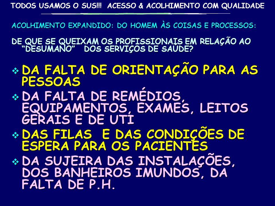 TODOS USAMOS O SUS!!! ACESSO & ACOLHIMENTO COM QUALIDADE gilson carvalho 32 ACOLHIMENTO DE BASE ORGANIZATIVA DOS SERVIÇOS: ORGANIZAÇÃO DA RECEPÇÃO: FI