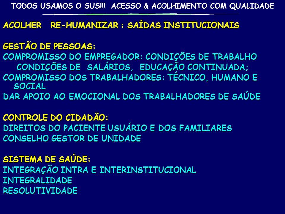 TODOS USAMOS O SUS!!! ACESSO & ACOLHIMENTO COM QUALIDADE ACOLHER RE-HUMANIZAR : SAÍDAS INSTITUCIONAIS INSTALAÇÕES: APARÊNCIA (LIMPEZA, ASPECTO AGRADÁV