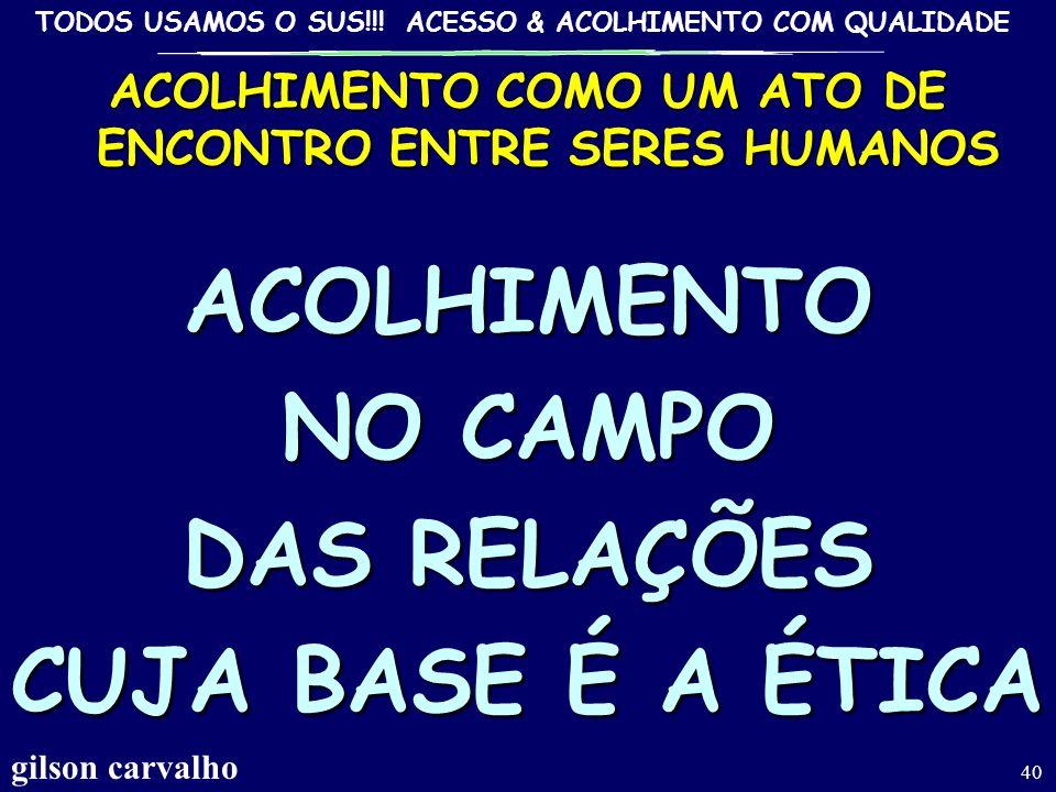 TODOS USAMOS O SUS!!! ACESSO & ACOLHIMENTO COM QUALIDADE ACOLHER RE-HUMANIZAR : SAÍDAS INSTITUCIONAIS EXISTE UM PUNHADO DE COISAS SIMPLES QUE NÃO DEPE