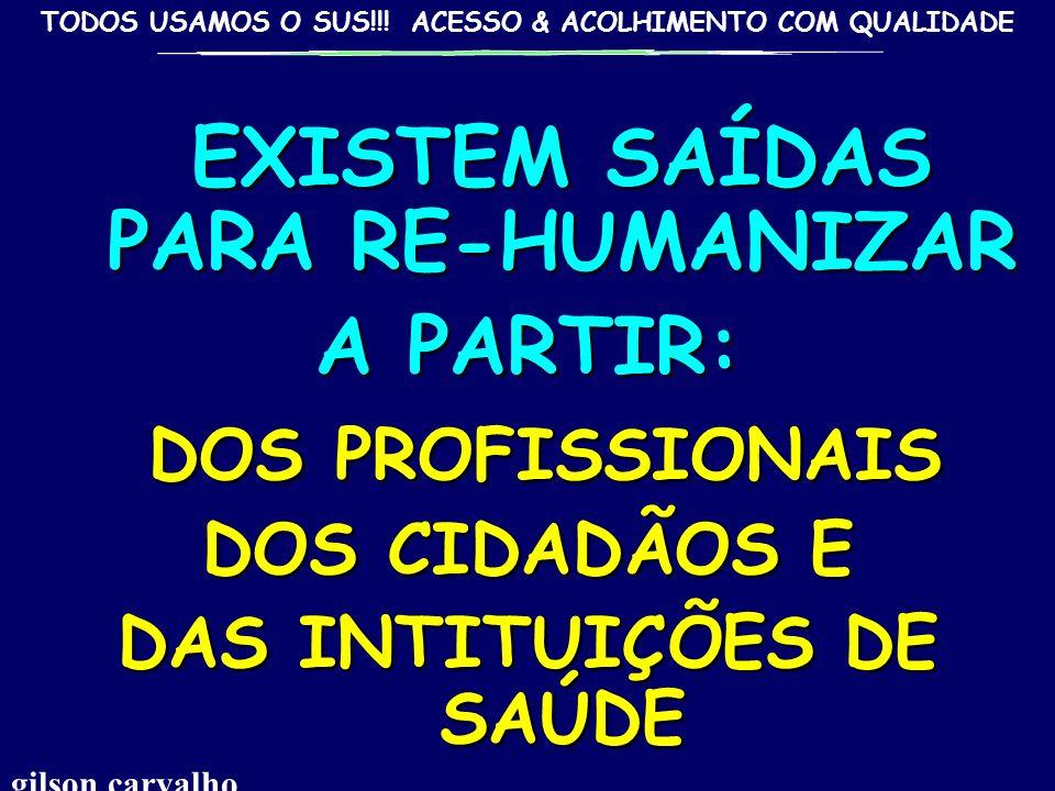 TODOS USAMOS O SUS!!! ACESSO & ACOLHIMENTO COM QUALIDADE ACOLHER RE-HUMANIZAR: ACOLHER RE-HUMANIZAR: AMORTECER, ALIVIAR O CHOQUE ENTRE A IMPONDERÁVEL