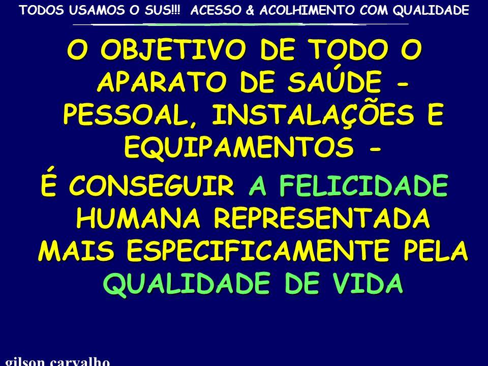TODOS USAMOS O SUS!!! ACESSO & ACOLHIMENTO COM QUALIDADE A QUALIDADE DE VIDA... A FELICIDADE gilson carvalho
