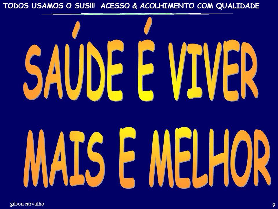 TODOS USAMOS O SUS!!! ACESSO & ACOLHIMENTO COM QUALIDADE gilson carvalho 8 QUALIDADEEMSAÚDE