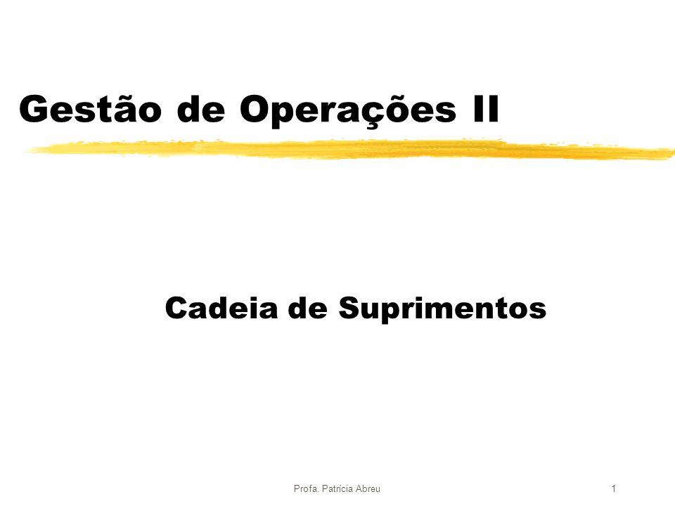 Profa.Patrícia Abreu2 Tópicos z O conceito de cadeia de suprimentos.