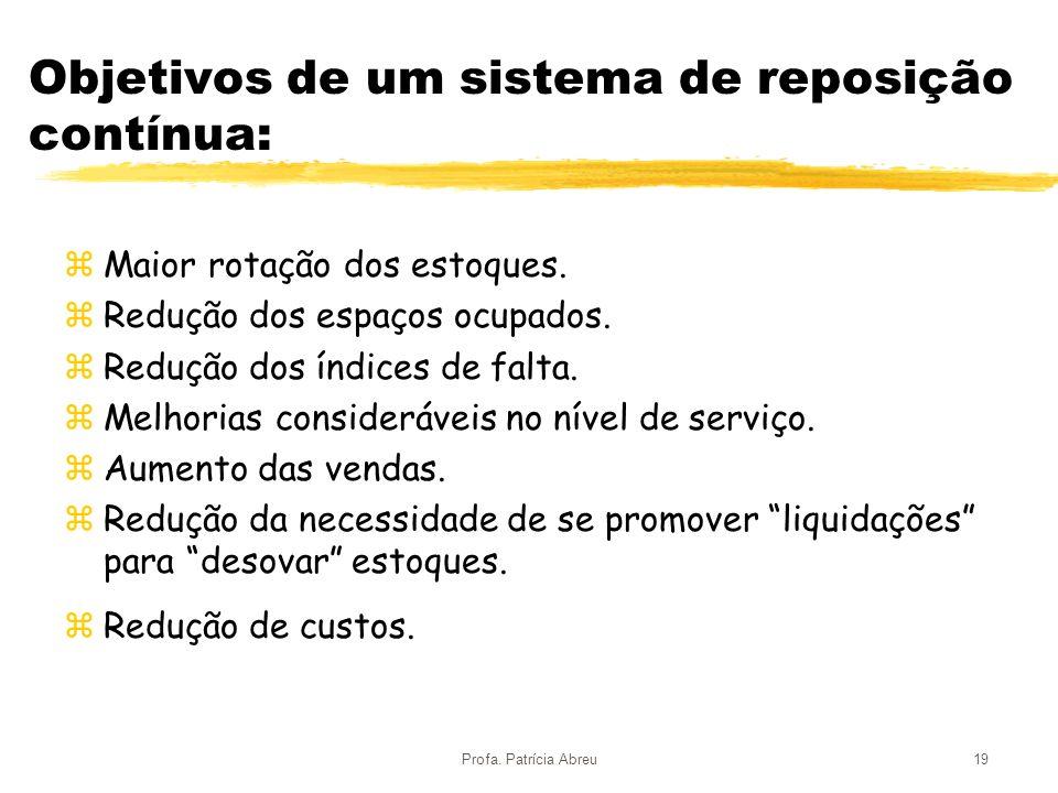 Profa. Patrícia Abreu19 Objetivos de um sistema de reposição contínua: zMaior rotação dos estoques. zRedução dos espaços ocupados. zRedução dos índice