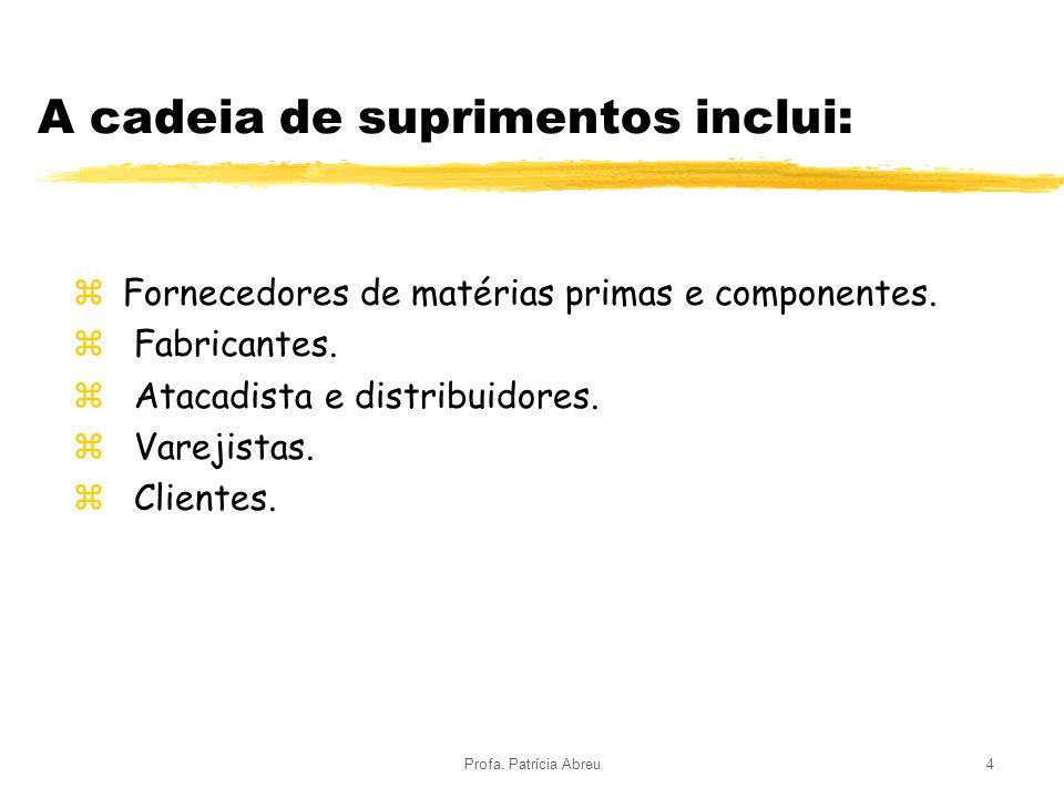 Profa. Patrícia Abreu4 A cadeia de suprimentos inclui: z Fornecedores de matérias primas e componentes. z Fabricantes. z Atacadista e distribuidores.